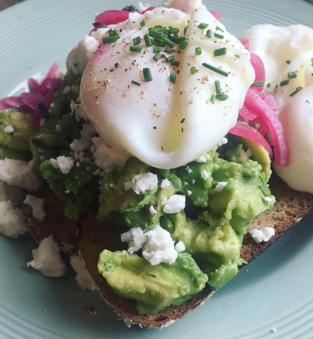 sugardough brighton review avocado and poached eggs on toast